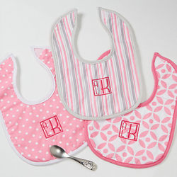 Pretty in Pink Personalized Bib Gift Set