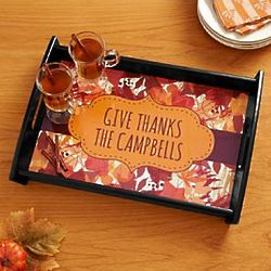 Autumn Leaves Personalized Serving Tray