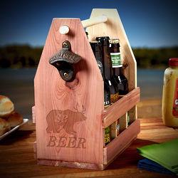 Personalized Bear Deer Wooden Beer Caddy