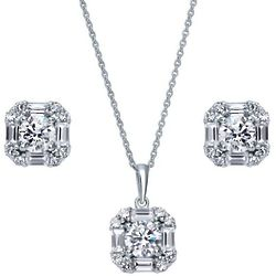 Art Deco Sterling Silver CZ Halo Necklace and Earrings Set