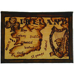 Ireland Map Leather Photo Album in Natural