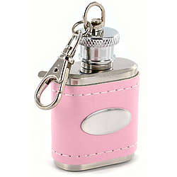 Personalized Pink Leather Key Chain Flask