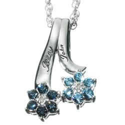 Couple's Birthstone Flower Name Pendant and Necklace