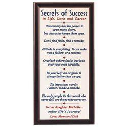 Personalized Secrets of Success Plaque