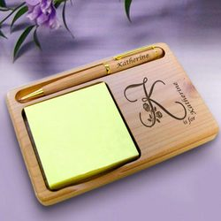 Personalized Flower Initial Wooden Notepad & Pen Holder
