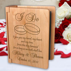 "Personalized ""I Do"" Wooden Photo Album"