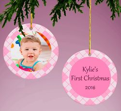 Pink Personalized Baby Photo Ornament