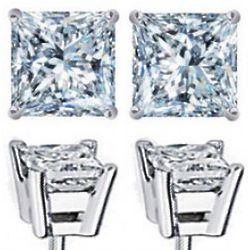 2.25 Carat Diamond Princess Cut Stud Earrings