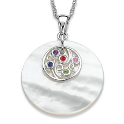 Sterling Silver Family Birthstone and Mother of Pearl Necklace