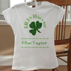 Personalized Irish For A Day St. Patrick's Day Fitted Kid T-Shirt