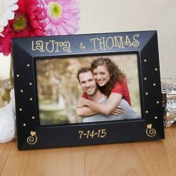 Couples Black Wooden Engraved Frame