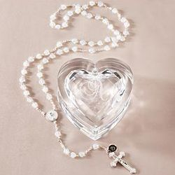 Personalized Acrylic Heart Box with Rosary