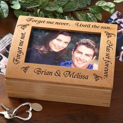 Forget Me Not Engraved Wooden Photo Box