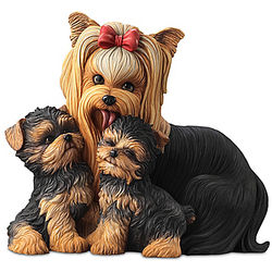 Yorkie Kisses Mama Dog and Puppies Sculpture