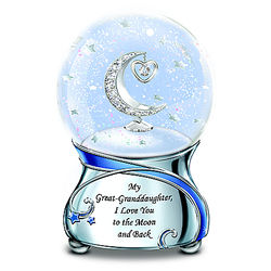 Great-Granddaughter, I Love You to the Moon Musical Glitter Globe