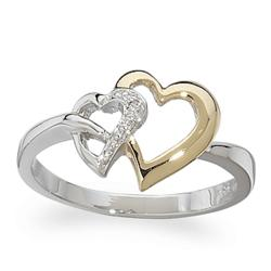 Sterling Silver Two-Tone Diamond Hearts Ring
