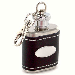 Personalized Black Leather Key Chain Flask