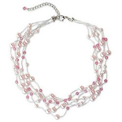Rose Mist Pearl and Crystal Choker