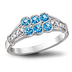 Blue Splendor Topaz and Diamond Ring