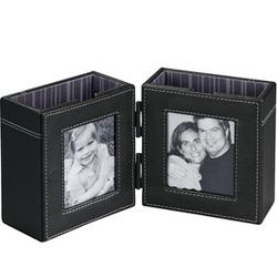Double Leather Photo Frame Desktop Organizer