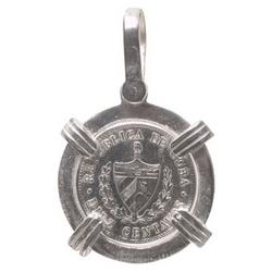 Silver Nautical Cuban Coin Pendant