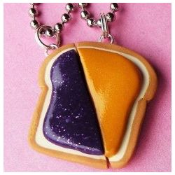 Peanut Butter and Jelly Matching Slice Necklace Set