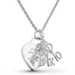 "Sterling ""XOXO"" Letter Keys Necklace"