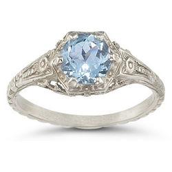 Vintage Floral Aquamarine Ring in Sterling Silver