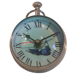 Nickel Paperweight Clock with Nantucket Map Face