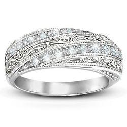 Diamond Elegance Filigree Ring with Diamonds
