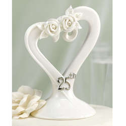 25th Anniversary Pearl Rose Cake Topper