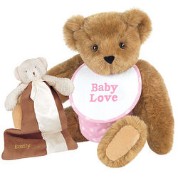 Baby Shower Pink Teddy Bear and Blanket