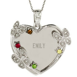 Personalized 4 Stone Austrian Crystal Butterfly Pendant