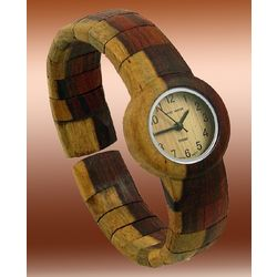 Ladies Dual-Tone Sandal Wooden Bangle Watch