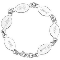 Engraved Sterling Silver Mother's Keepsake Bracelet