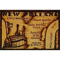 New Orleans Map Leather Photo Album in Natural