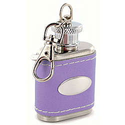 Personalized Lavender Leather Key Chain Flask