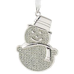Personalized Sparkling Silver-White Snowman Christmas Ornament