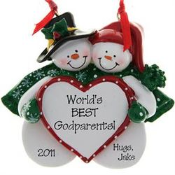 World's Best Godparents Snow Couple Ornament