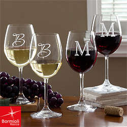 Personalized Wine Glasses With Initial Monogram