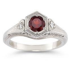Sterling Silver Garnet and White Topaz Heart Ring