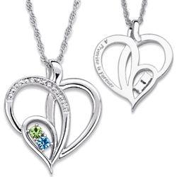 Platinum Plated Couple's Birthstone Diamond Heart Necklace