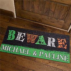 Personalized Beware Oversized Halloween Doormat