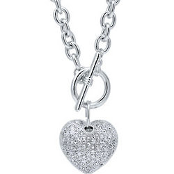 Cubic Zirconia Puffed Heart Toggle Necklace