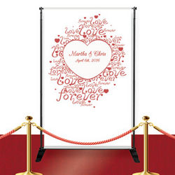 Personalized Love Forever Wedding Heart Banner
