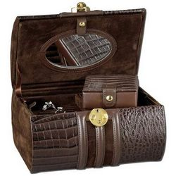 Tuscany Leather Travel Jewelry Box with Lock