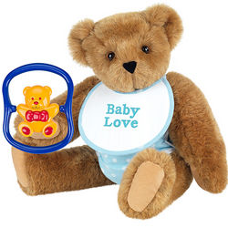 Baby Shower Blue Teddy Bear and Rattle