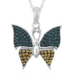 Blue and Yellow Crystal Butterfly Pendant in Sterling Silver