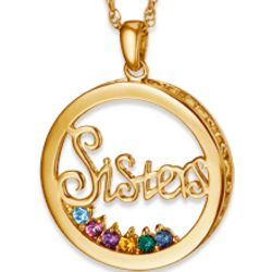 Gold-Plated Sisters Circle Birthstone Necklace