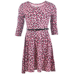Girl's Leopard Print Belted Dress